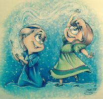 FROZEN-Elsa and Anna by BenjiLion09