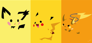 Pikachu evolution line by S--Art