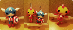 Plush Fondue - Captain and Iron Man by blackeyebags