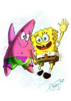 Spongebob and Patrick by Omegathree
