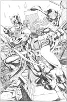 Hawkeye And Mockingbird commission Pencil Pvale by petervale