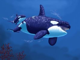 orca  and baby by Guardian752