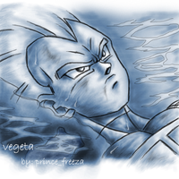 vegeta in the water thinking by prince-freeza