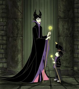 Commision- Maleficent with Malphas by Precia-T