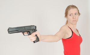 Gun Stock - Foreshortening Portrait by Danika-Stock