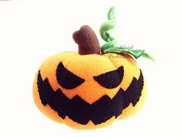 Stuffed Jack 'O Lantern Plush Scary Carved Pumpkin by Saint-Angel