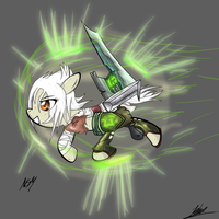 Riven The Exiled Noxian Pony by NightGreenMagician