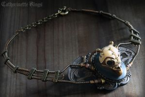 Steampunk Necklace Owl skull - Faux-taxidermy 2 by CatherinetteRings