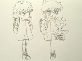 Haibara and Conan by jeancyj