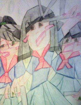Angry Japanese Girls Cubist by inuyako