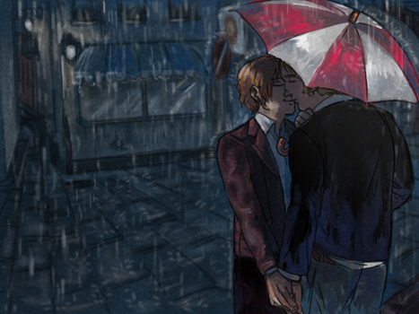 APH - gerita in the rain by weaselyperson