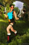 Lara Croft  VS T-Rex - Classic Cosplay by Daelyth