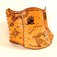Hard Leather Treasure Map Corset by BruteForceStudios