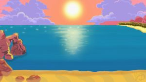 Sunset Beach Wallpaper by Electric-Mongoose