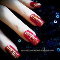 Golden Wine Sparkle Nail Art Design by everbella