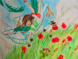 Chihiro and red poppies by Windydy
