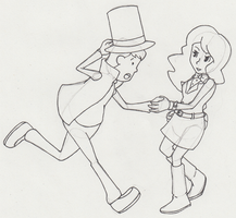 Layton and Emmy WIP by SamCyberCat