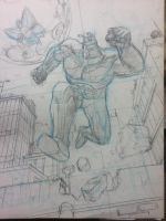 Mighty Blue Justice - pencils by mistermuck