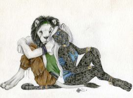 Sunil and White Lion by SpottedNymph