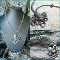 Silver Steampunk Nautical Octopus Necklace by random-wish