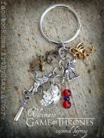 Game of Thrones inspired Keychain- for sale NOW :D by ArtByStarlaMoore