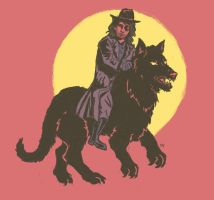 Van Helsing Riding Wolf by Debra-Marie