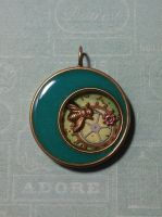 Green pendant with bee by sillysarasue