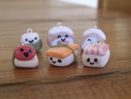sushi kawaii set in fimo by elfaaa