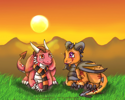 Chibi Thornacious and Xena by Thornacious