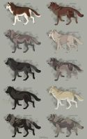 Semi-Realistic Wolf Adoptables Set 9 - OPEN by Therbis