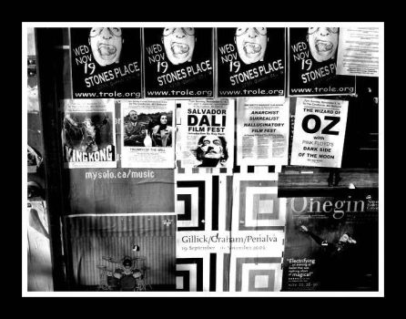 flyers on a wall by friedzombiebrain