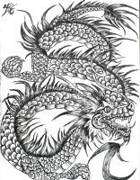 BW ink  Dragon 2 by OhioErieCanalGirl