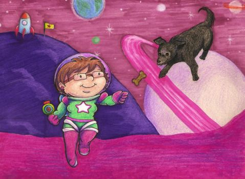 My dog and I in space by Myrcury-Art