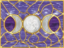 Triple Moon Stained Glass 1 by copperphoenix