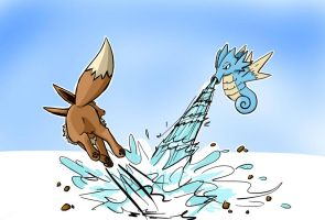 Eevee vs Seadra -Contest entry by wolfsouled