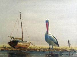 Coastal Oil Painting- 'Stranded' by jo-hagan