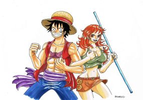 Luffy x Nami by heivais