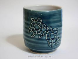 Two Turtles Blue Tea Cup by skimlines