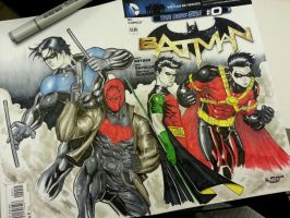 4 robins sketch cover commission by Sajad126