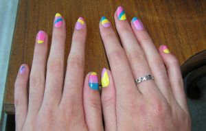 Colorful pastel nails by Insanity-Cake