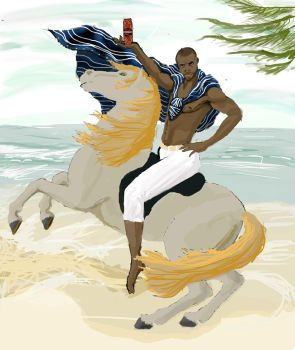 Old spice guy + Napoleon Crossing the Alps by Iamveryfast