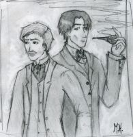 Holmes and Watson Portrait by InkofTheMadHatter