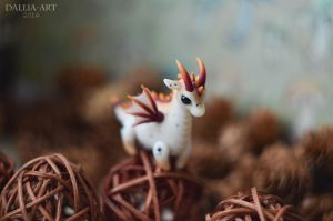 Ball-jointed dragon - white and beige by dallia-art