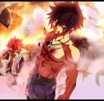 Gray and Natsu - Fairy Tail 407 (re color) by sleipneir