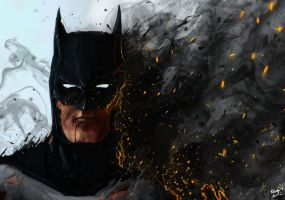 Batman... on fire by Rhunyc