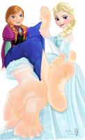 [Frozen] Elsa massaging Anna's soles by Solesartist