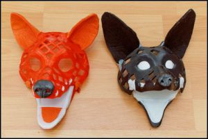 3dprint fox and wolf puppet heads by Tioh