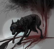 Injured wolf design by Alaiaorax