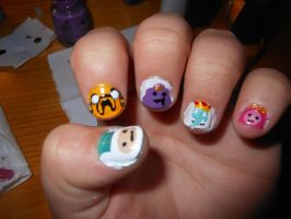 Adventure Time Nails by willow1894