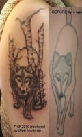 freehand custom cover up WOLF by artgecko